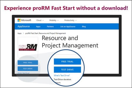 AppSource: 'Test Drive' for proRM Fast Start available